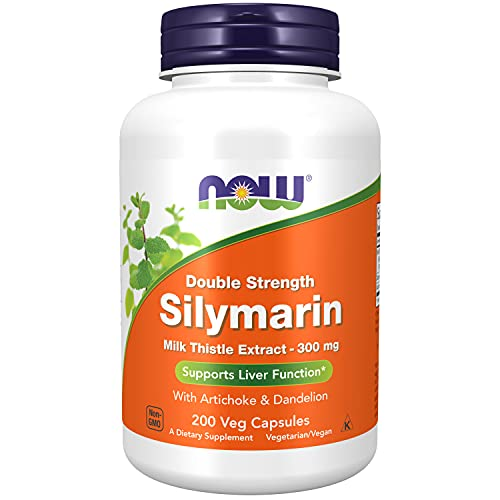 NOW Supplements, Silymarin Milk Thistle Extract 300 mg with Artichoke and Dandelion, Double Strength, Supports Liver Function*, 200 Veg Capsules