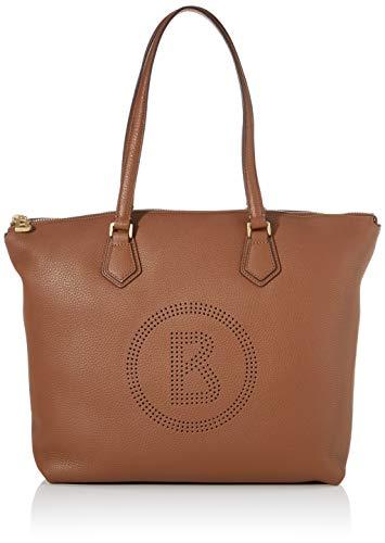 Bogner Damen Shopper Sulden Nele aus Leder Handtasche mit Reißverschluss, Braun (Cognac), 16x33x46 cm (B x H x T)
