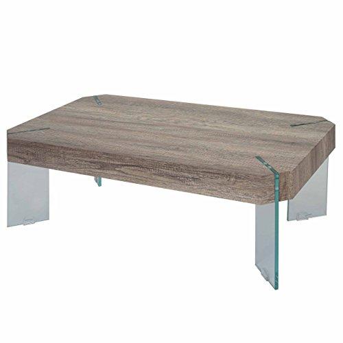 Table Basse de Salon KOS T578, FSC 40x110x60cm - Aspect chêne Sauvage, Pieds en Verre