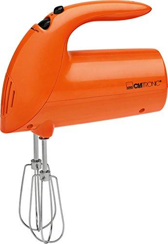 Clatronic Handmixer HM 3014 /// Edelstahlquirle & -knethaken /// 5 Geschwindigkeitsstufen /// Zubehörteile spülmaschinengeeignet /// 250 Watt /// Orange