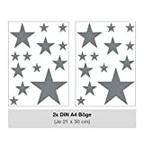 Sternen Set Kinderzimmer Wandsticker 26 Stück Sterne Sternenhimmel zum Kleben Wandtattoo Wandaufkleber Sticker Wanddeko (Grau)