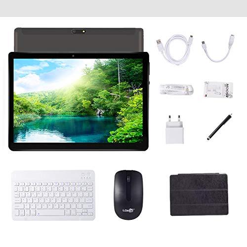 tablet con tastiera staccabile Tablet Android 9.0 da 10 pollici con WIFI quad-core Navigazione Bluetooth 4 GB di RAM 64 GB di memoria Dual SIM 3G è anche un telefono cellulare (nero)