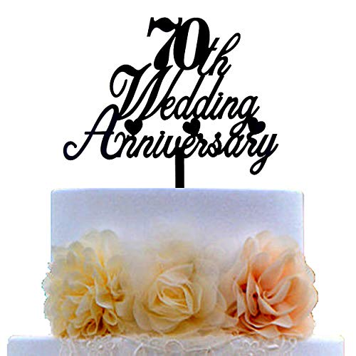 70th Wedding Anniversary Cake Topper for 70th Wedding Anniversary Party Decorations Ideas Supplies (Black Acrylic)