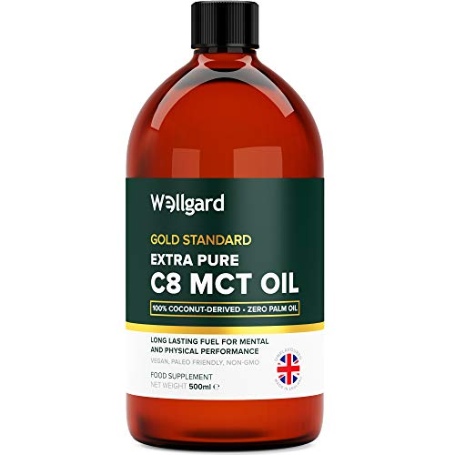 Extra Pure C8 MCT Oil 100% Coconut No Palm Oil 500ml by Wellgard | Deep Ketosis...