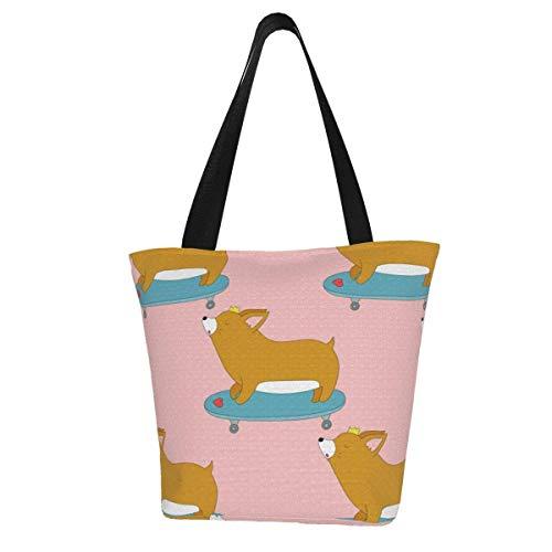 Tote Bag - Dogs On Skateboard Animals Wildlife Waterproof Lightweight Handbags Travel Shoulder Bag for Hiking Yoga Gym Swimming Travel Beach
