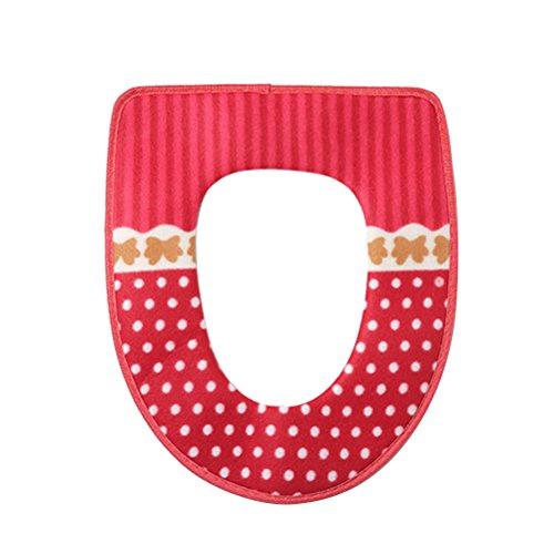 BESTOMZ Coprisedile WC Caldo Morbido Sedile Del Cuscino WC (Rosso)