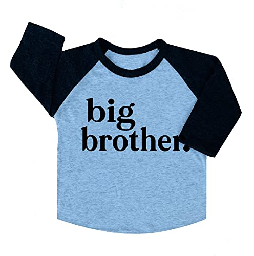 Big Brother & Little Brother Sibling Reveal Announcement T-Shirt for Boys Toddler Baby - Big Brother Black & White Raglan T-Shirt - 18M