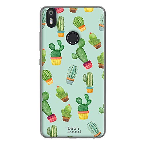 Funnytech® Funda Silicona para Bq Aquaris X Pro [Gel Silicona Flexible, Diseño Exclusivo] Cactus Patrones Fondo Verde