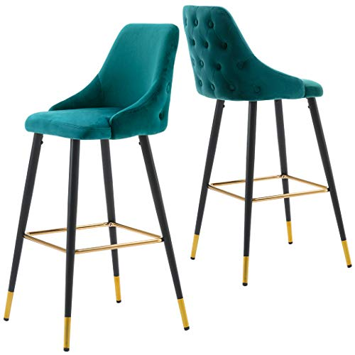 2X Barhocker Barstuhl aus Stoff Samt Gestell aus Metall Tresenhocker Bar Sessel gut gepolstert mit Lehne Farbauswahl Duhome 5170G, Farbe:Petrol, Material:Samt