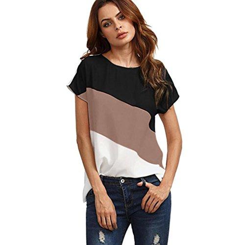MRULIC Damen Kurzarm T-Shirt Rundhals Ausschnitt Lose Hemd Pullover Sweatshirt Oberteil Tops (EU-40/CN-L, Kaffeebraun)