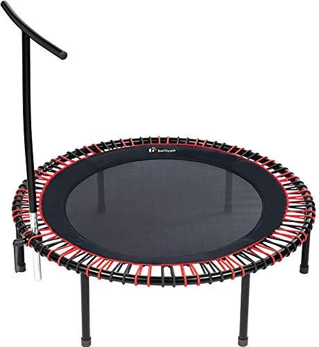 bellicon Plus Fitness-Trampolin mit T-Stange, rot/schwarz, ø 125 cm, Klappbeine, Komfortmatte, bis 200 kg, inkl. umfangreichem Einführungspaket, Made in Germany (Mittlere Seilringe (60-90 kg))