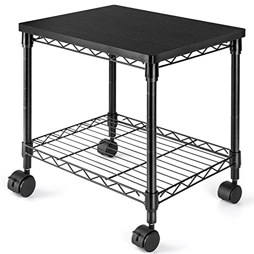 HUANUO Under Desk Printer Stand - 2 Tier Printer Cart for Storage, Mobile Printer Riser with Swivel Wheels, Perfect Desk Organizer Shelf for Home & Office