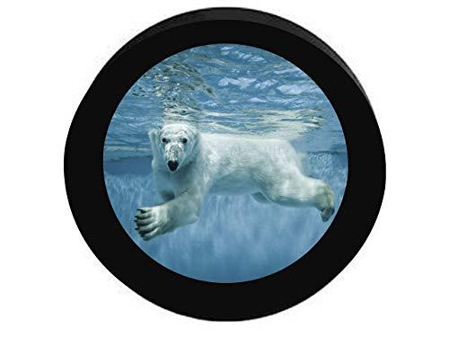 GOSMAO Oso Polar Blanco Nadando bajo el Agua Artic Glaciers Protector Solar Impermeable neumático Ajustable, Adecuada para automóvil, Todoterreno, RV, Remolque, Rueda de neumático de 16 Pulgadas