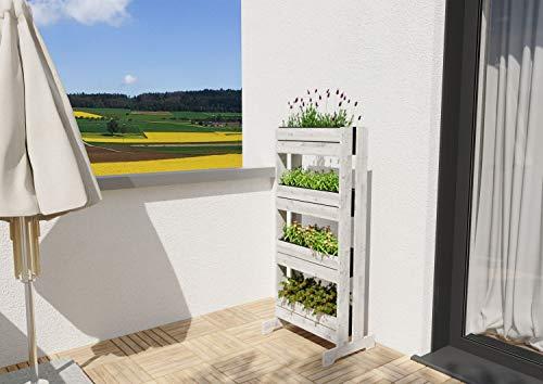 GartenDepot24 stabiles Frühbeet Vertikalbeet Kräuterbeet Hochbeet Trennwand aus Holz mit 4 Kunststoffkästen in GRAU - B64 x T40/20 x H125 cm