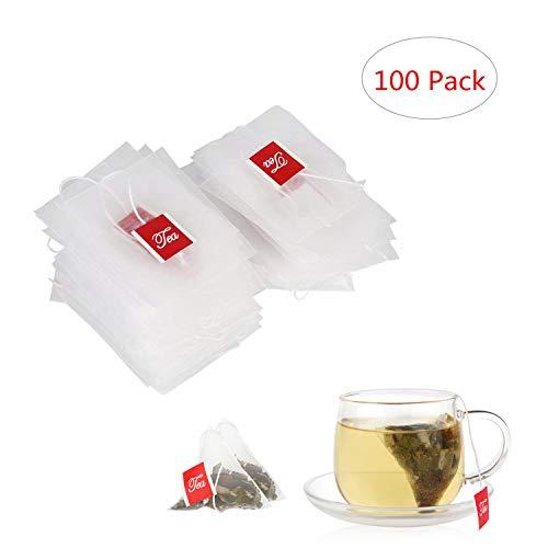 Yosoo 100Pz Filtri da tè in Nylon Vuoto Sacchetti Bustine per tè Tisane Filtro Spezie Erbe Cucina Bar Pub