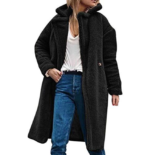 TWBB Damen Mantel Knielang Fellmantel,Winter Pelzmantel Kunstfell Winterjacke Fur Jacke stylischer Einfarbig Jacke