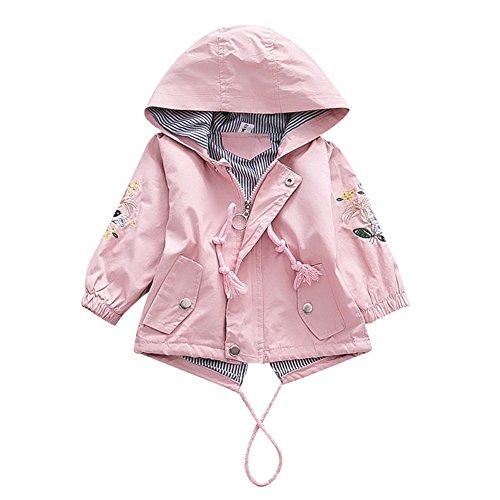 G-Kids Baby Mädchen Jacke Übergangsjacke Kapuzenjacke Kinder Prinzessin Blume Frühling Herbst Outwear Oberbekleidung Rosa, 7