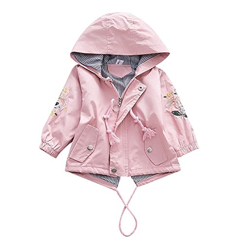 G-Kids Baby Mädchen Jacke Übergangsjacke Kapuzenjacke Kinder Prinzessin Blume Frühling Herbst Outwear Oberbekleidung Rosa 90