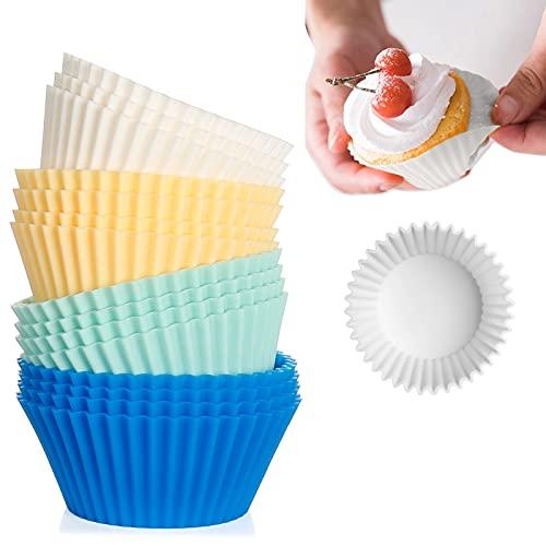 Teglie per muffin e Cupcake Kasimir Cupcake Silicone Stampi Pirottini da Forno Riutilizzabili Antiaderente per Torte Gelati al Cioccolato Gelatina, Confezione Da 15, Compreso il Blu