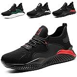 SROTER Zapatos de Seguridad para Hombre Mujer Puntas de Acero Antideslizantes Transpirables Anti-Piercing Zapatos de Trabajo Rojo EU43