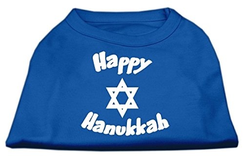 Mirage Pet Products 8-Inch Happy Hanukkah Screen Print Shirts for Pets, X-Small, Blue