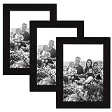 CABBEL 3er Set Bilderrahmen 10x15 MDF Holz-Rahmen mit bruchsicherem Acrylglas in Schwarz