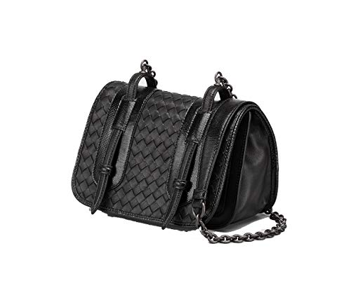 Bottega Veneta 387060VAQK1 Intrecciato Nappa and Karung Full Flap Black Crossbody