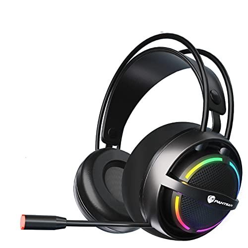 FANGYUN Auriculares estéreo para juegos con cable de 7.1 canales con micrófono de reducción de ruido compatible con PC, PS4, PS5, X-box One controladores (se requiere adaptador)
