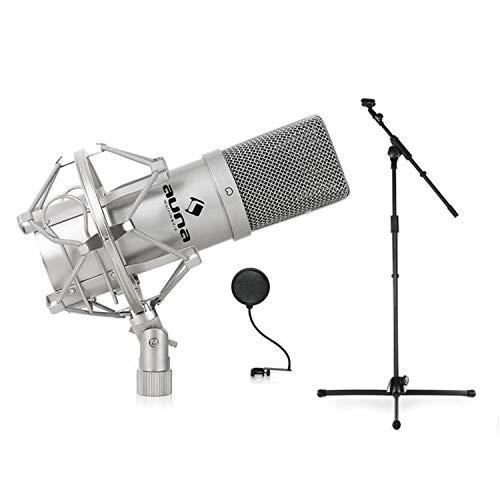 Auna MIC-900S Konzert- Bühnen-& Studio-Mikrofonset Kondensator USB Mikrofon mit Stativ und Mikrofonabschirmung (Mikrofonständer höhenverstellbar, Nierencharakteristik) silber