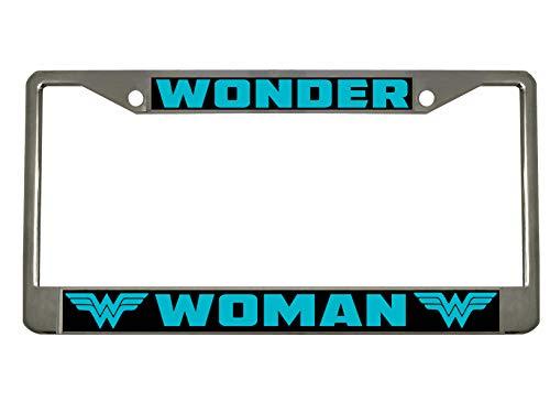 BISIRI Wonder Woman Metal Heavy Black/Chrome License Pleat Frame Car Tag Hold (Chrome/Black/Turquoise)