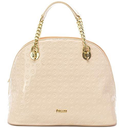 Pollini Damen-Handtasche Heritage Lack Embossed, Beige Einheitsgröße