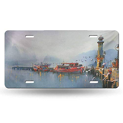 dsdsgog Prevents Scratches Country,View of a Misty Morning at The Harbor with Boats and Birds in Old Fishing Town Art,Multicolor 12x6 inches,Original Design