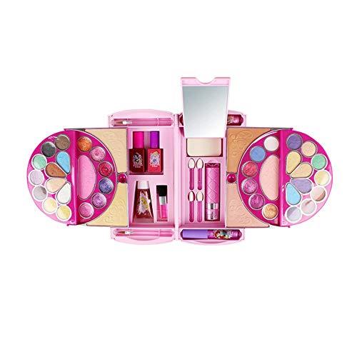 finelyty para Disney 53pcs Kids Cosmetics Set Toy, Pandora Magic Mirror Series Maquillaje de Juguete Seguro y No tóxico para Las niñas Practicando Maquillaje, Little Girl Makeup Kit Handbag