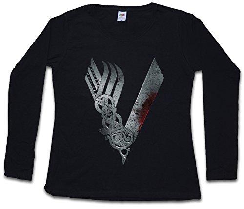 Urban Backwoods Vikings Logo Celtic Women T-Shirt Mujer Camiseta de Manga Larga Negro Talla S