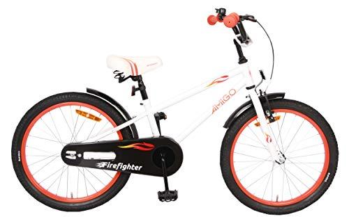 AMIGO Firefighter Kinderfahrräder Jungen 18 Zoll 23 cm Jungen Rücktrittbremse Weiß