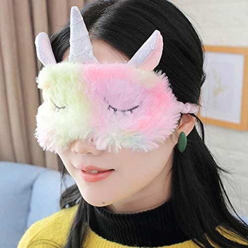 2 Piezas Animales Dormir Máscara, Animal Sueño Antifaz Viajes Resto, Ajustable Linda Ojos Antifaz para Niña Mujeres Niños,C