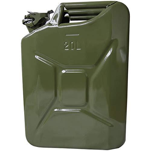 Hossi's Wholesale Benzinkanister 20l, Kraftstoffkanister aus Stahlblech, Reservetank olivgrün, Benzintank 467x166x346mm