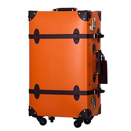 TANOBI トランクケース スーツケース キャリーバッグ SSサイズ機内持ち込み可 復古主義 おしゃれ 可愛い 13色4サイズ (オレンジ×チョコレート, Sサイズ(1−3泊))