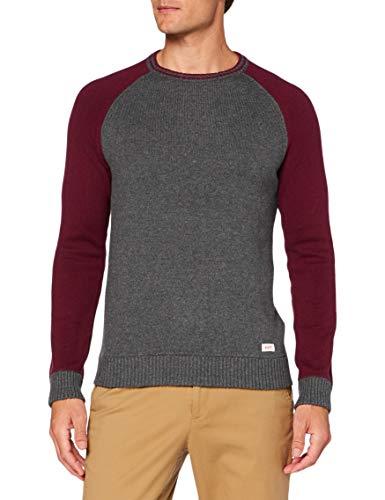Hackett Hkt Col Blk Ragln CRW suéter, 9BMGREY / Vino, XL para Hombre
