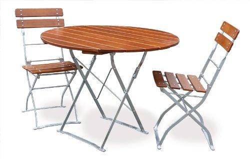EuroLiving Biergartengarnitur 1x Tisch Ø90 cm & 2X Stuhl Edition-Classic Ocker/verzinkt