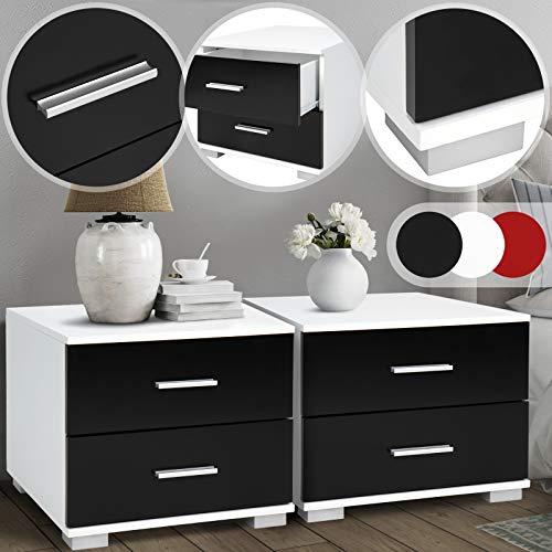 MIADOMODO Nachttisch 2er-Set - 40x40x35 cm, MDF, Griffe aus Metall, Zwei Schubladen, Farbwahl - Nachtschrank, Kommode Ablagetisch, Nachtkommode für Schlafzimmer, Wohnzimmer (Schwarz-Weiß)