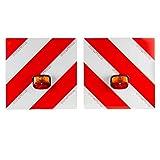 Warntafelsatz mit Leuchten | 5 Meter Anschlusskabel | für Trecker, Traktor, Auto, Wohnwagen, Wohnmobil | Warnschild | reflektierend | rot/weiß