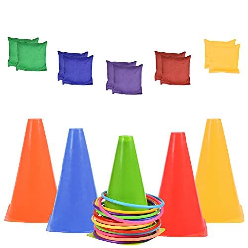 DODUOS 3-in-1 Ringwurfset Sport Party Spiel Set - Party Wurfspiele im Freien mit Sitzsäcke, Kunststoffringe, Verkehrskegel - Ringwurfspiele für Party, Outdoor-Spiele Sport Party Puzzle Spiele