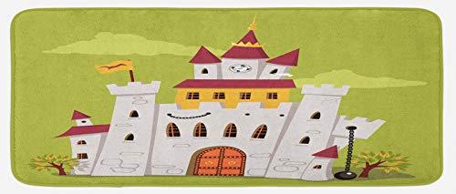 ABAKUHAUS Castillo Tapete para Cocina, Alemán Fortaleza de Torre del Reloj, con Superficie de Felpa Estampada Dorso Antideslizante, 48 cm x 120 cm, Verde Verde Oliva pálido marrón