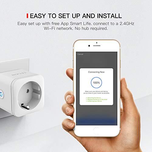 Enchufe Inteligente WiFi TECKIN 16A 3300W Mini Smart Plug Funciona con Amazon Alexa, Echo, Google Home, No se requiere Hub, Función de Temporizador, con Control Aplicaciones en Cualquier lugar