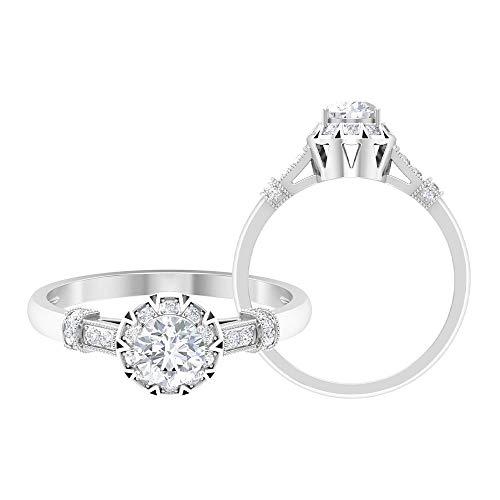 Anillo solitario vintage, anillo de halo de diamante HI-SI, anillo de compromiso de oro (solitario de 5 mm de forma redonda) 14K Oro blanco