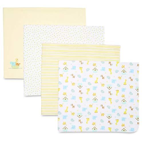 Spasilk Unisex Baby 4 Pack 100% Cotton Flannel Receiving Blanket — Baby Boy or Baby Girl Shower Gift, Yellow Ark