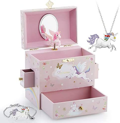 Kids Musical Jewelry Box for Girls with 3 Drawers and Jewelry Set with Mysterious Unicorn Over product image