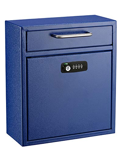 AdirOffice Ultimate Drop Box Wall-Mounted Mailbox - Hanging Secured Postbox - Durable Spacious Key or Combination Lock Box Perfect for After Hours Deposits Payments Key and Letter Drops (Medium, Blue)