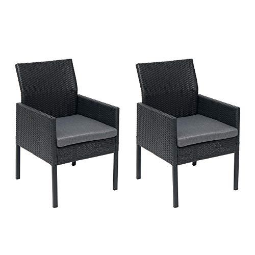 Mendler 2X Poly-Rattan Sessel HWC-G12, Gartenstuhl Korbsessel - schwarz, Kissen dunkelgrau, Alu/halbrund/Spun Poly